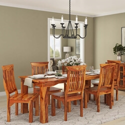 Rustic Solid Wood Dining Table & Chair Set Furniture