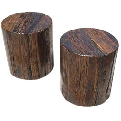 Appalachian 2pc Tree Stump End Table Stool Set