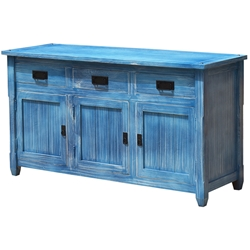 Appalachian Sky Blue Buffet Kitchen Cabinet Wood Sideboard Credenza