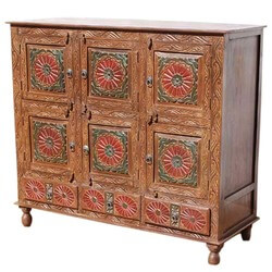 New Delhi Red Poppy Chest 9 Compartment Storage Buffet