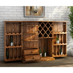 Rustic Solid Wood Expandable Wine Bar Cabinet w Bottle Glass Holder
