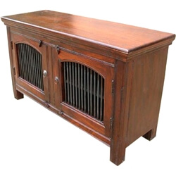 Solid Wood 2 Wrought Iron Door Rustic Sideboard Storage Buffet Cabinet
