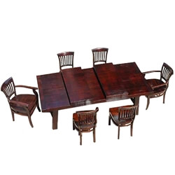Nottingham Rustic Furniture Wood Dining Table & Chair Set w Extension