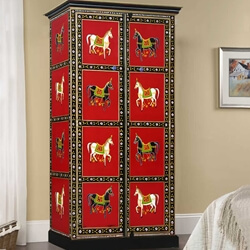 Solid Wood Heritage Style Hand Painted Wardrobe Closet