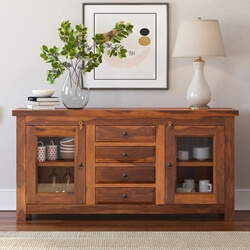 Rustic Glass Door Buffet 4 Door Solid Wood Sideboard Credenza Cabinet