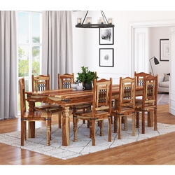 Dallas Classic Solid Wood Dining Room Table and Chair Set For 8 People