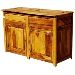 Dallas Ranch Solid Wood 2-Door Rustic Kitchen Storage Buffet Cabinet