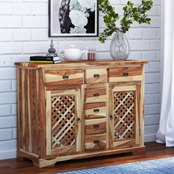 Rustic Wood Buffet 2 Door 7 Drawer Storage Chest Cabinet Credenza