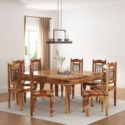 Large Solid Wood Dallas Square Dining Table & Chair Set