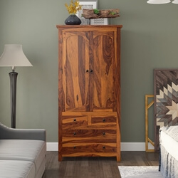 Rustic Wood Storage Armoire Wardrobe Bedroom Furniture
