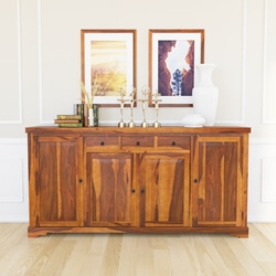 Santa Cruz Large Rustic Sideboard 4-Door 3-Drawer Credenza