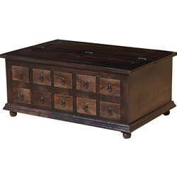 Rustic Wood Kokanee Storage Coffee Table with 10 Drawers