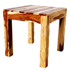 Dallas Solid Wood Unique Square Wood Bed Side End Table Stand