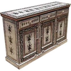 Black & White Hand Painted Tribal Buffet Cabinet