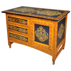 Masterpiece Hand Painted Floral Hardwood Buffet Cabinet