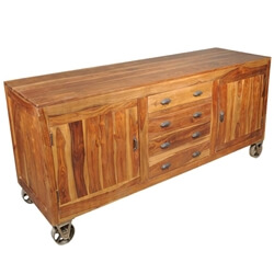Solid Wood Buffet Cabinet on Wheels