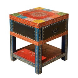 New Delhi Patchwork Leather & Mango Hand Painted Square Night Stand