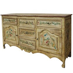 Antique White Victorian Hand Painted Solid Mango Wood Buffet