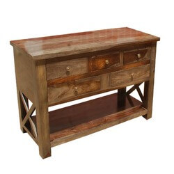 Portland Solid Wood 4 Storage Drawer Console Foyer Table