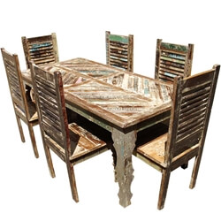 Rustic Reclaimed Wood Furniture Dining Table & Shutter Back Chair Set