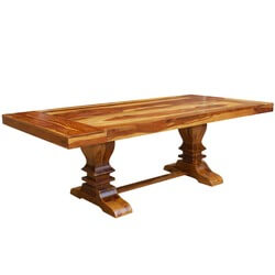 Dallas Ranch Double Pedestal Trestle Dining Table w Extensions