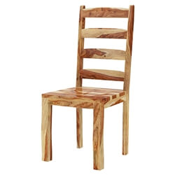 Oklahoma Rustic Solid Wood Ladder-Back Chairs 2pc Set