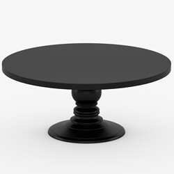 Black Round Dining Table Made In Solid Wood w Round Pedestal Base