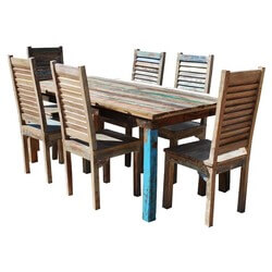 Appalachian Rustic Old Wood 7pc Table & Shutter Back Chairs