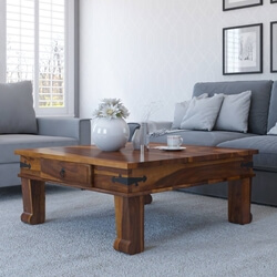 Solid Wood Square Drawer Sofa Cocktail Coffee Table Furniture