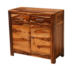 Appalachian Rustic Solid Wood 2 Drawer 2 Door Storage Accent Cabinet