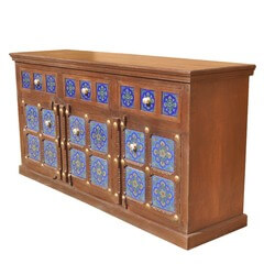 Portland Hand Painted Blue Tile & Solid Wood Buffet Cabinet