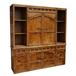 Solid Wood Hand Made Hand Carved Buffet & Large Hutch