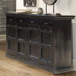 Solid Wood Kansas City Black Buffet Cabinet Sideboard
