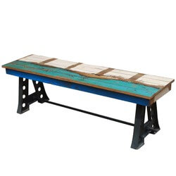 Rustic Solid Teak Wood Industrial Wrought Iron Bench Patio Furniture