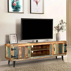 "Retro 71"" Reclaimed Wood Media Console w Center Shelves"