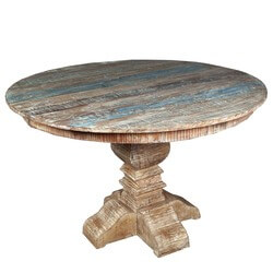"Rustic Reclaimed Wood Pedestal 48"" Round Dining Table"
