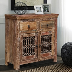 Rustic Reclaimed Wood Iron Grill Appalachian Sideboard Storage Cabinet