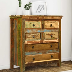 Reclaimed Wood Rustic 6 Drawer Bedroom Dresser Storage Chest