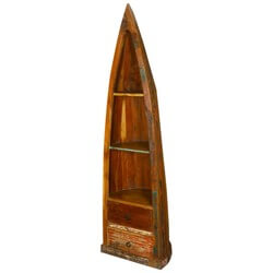 Standing Canoe Rustic Old Wood Book Case Curio w Bottom Drawers