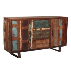 Reclaimed Wood Buffet Sideboard 2 Door 3 Drawer Cabinet w Wrought Iron