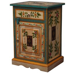 Hand Painted Floral Solid Wood Night Stand End Table