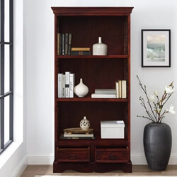 "71"" Tall Solid Wood & Wrought Iron 3 Shelf Display Single Bookcase"