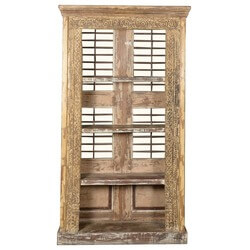 Antique White Reclaimed Wood Shutter Back Large Bookcase