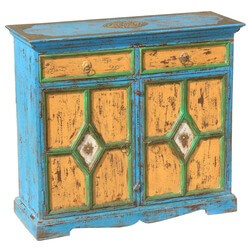 Blue Hand Painted Buffet Mango Wood Storage Sideboard Cabinet