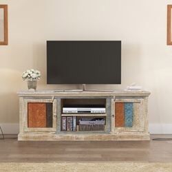 Appalachian Rustic Reclaimed Wood Media Center TV Table