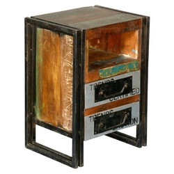 Industrial Old Wood & Iron 2 Drawer & Cubby Nightstand End Table