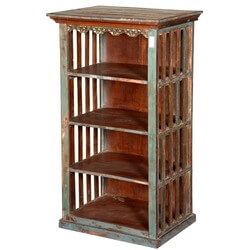 "Rustic Jail Bar Reclaimed Wood 45"" Tall Open Bookcase Curio"