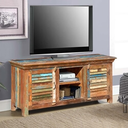 Rustic Primitive Reclaimed Wood Media Stand and Console
