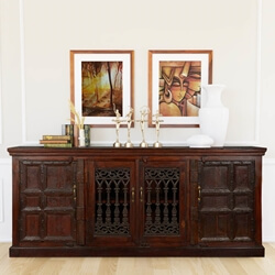 "Gothic Gates 85"" Reclaimed Wood Sideboard Buffet Cabinet"