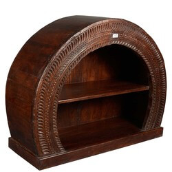 Arched Hand Carved Reclaimed Wood Open 2-Shelf Display Cabinet